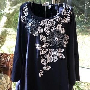Alfred Dunner Top With Beautiful Beaded Accents